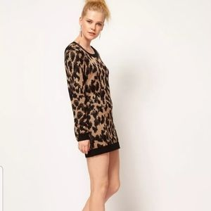 Minkpink Cheetah Sweater mini dress